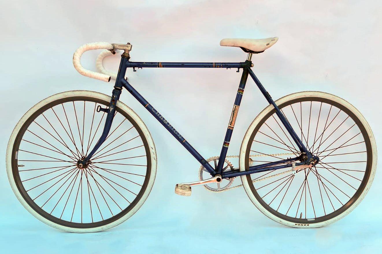 Champion vintage racefiets blauw