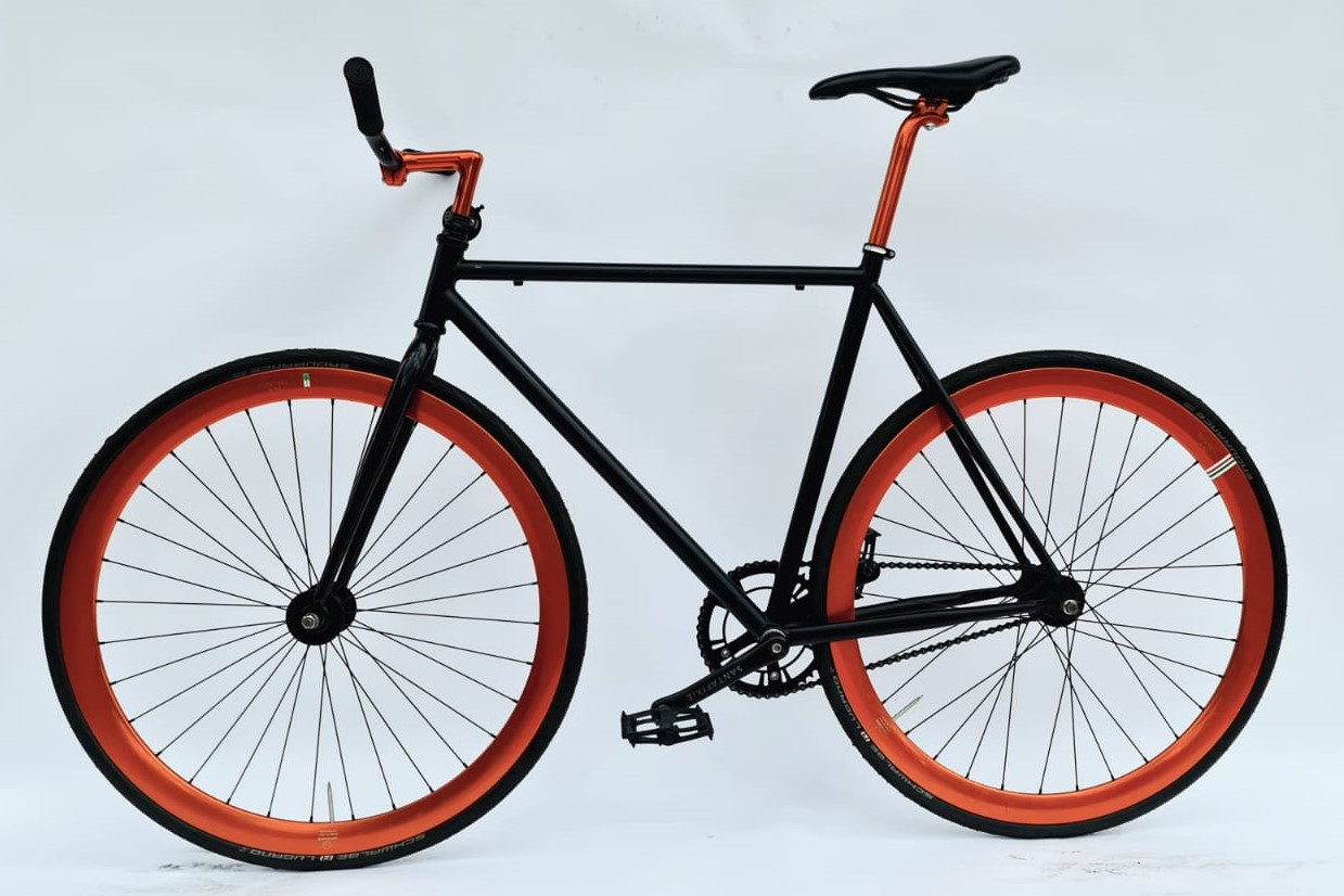 Single Speed racefiets - oranje/ zwart